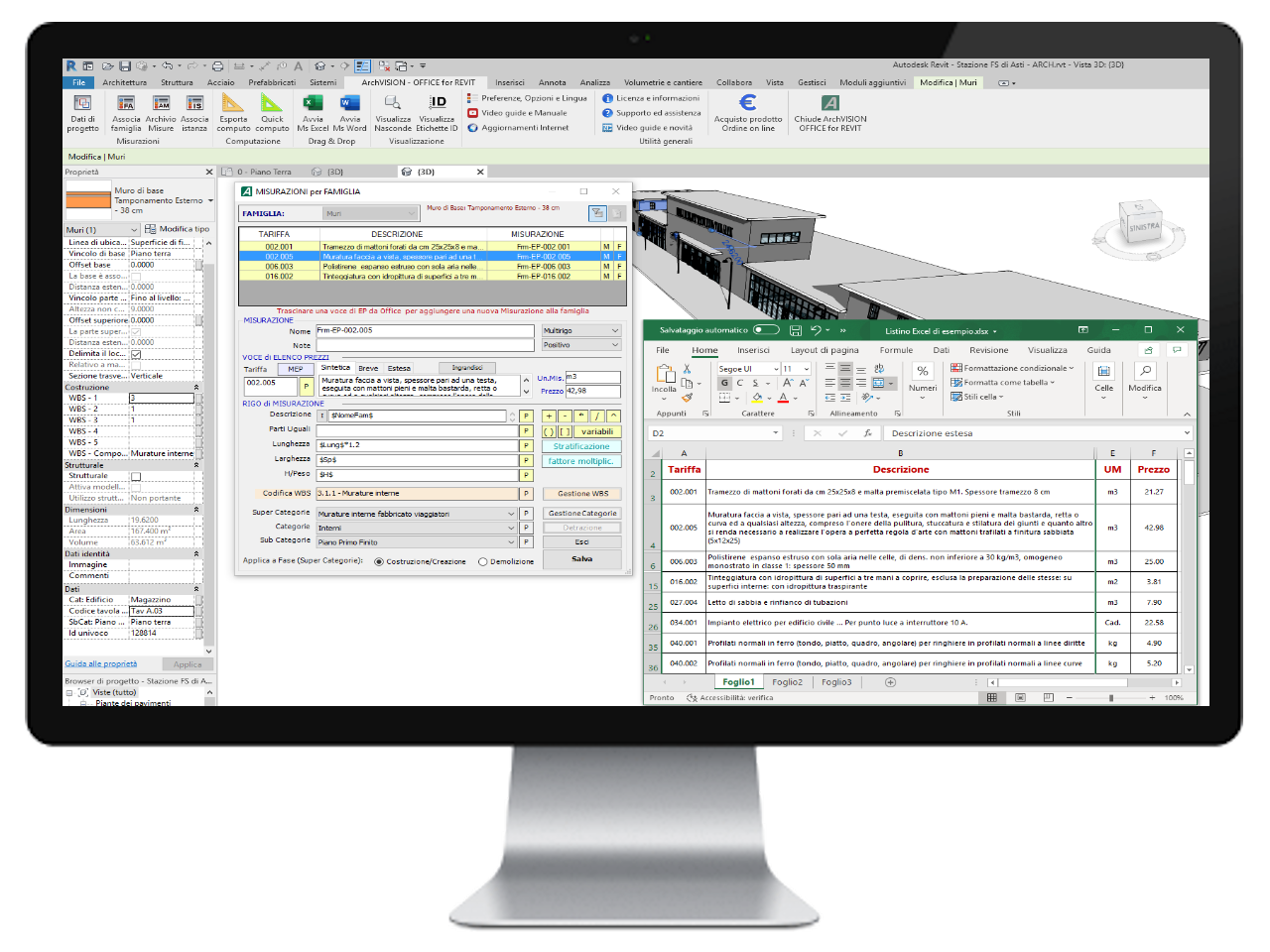 ArchVISION OFFICE for REVIT - Association of EP voices from Excel