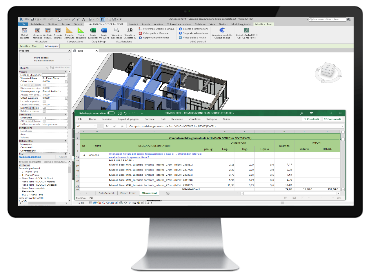ArchVISION OFFICE for REVIT - Calcul dans Excel