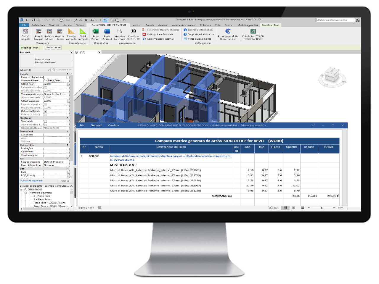 ArchVISION OFFICE for REVIT - Calcul dans Word